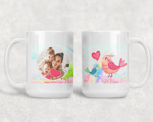 Happy Mother's Day 15oz Coffee Mug with 2 Birds and a Custom Photo, Coffee Mug, Personally Yours Accessories