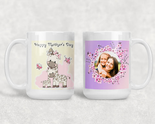 Happy Mother's Day 15oz Coffee Mug with a Mom and Baby Giraffe and a Custom Photo, Coffee Mug, Personally Yours Accessories