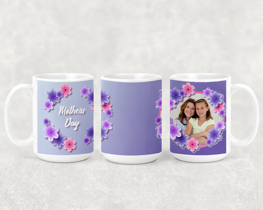 Happy Mother's Day 15oz Coffee Mug with Pink and Purple Flowers and a Custom Photo