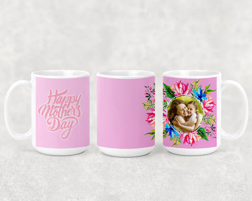 Happy Mother's Day 15oz Coffee Mug with Pink Carnation Floral Pattern and Custom Photo