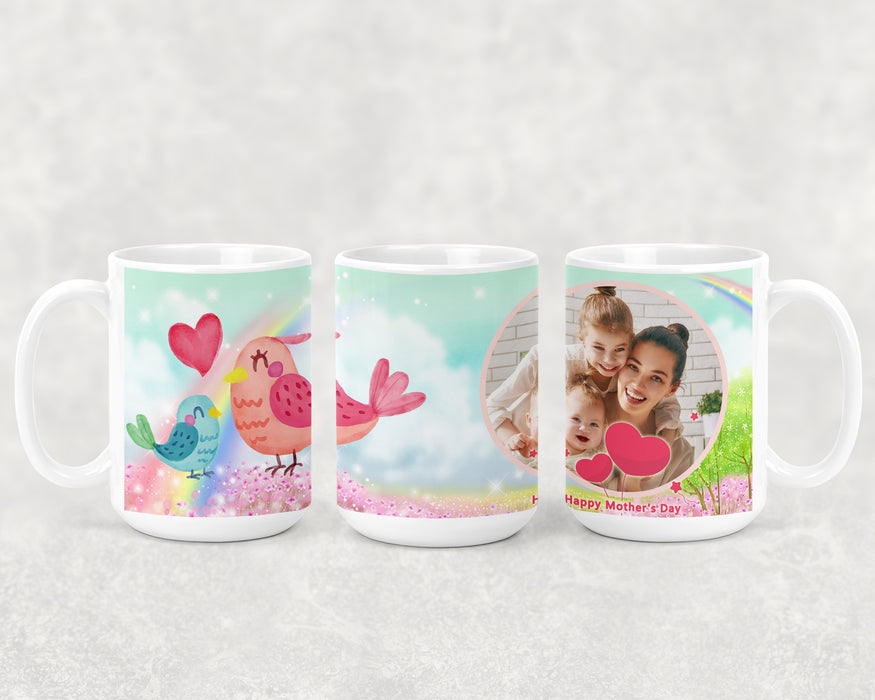 Happy Mother's Day 15oz Coffee Mug with 2 Birds and a Custom Photo