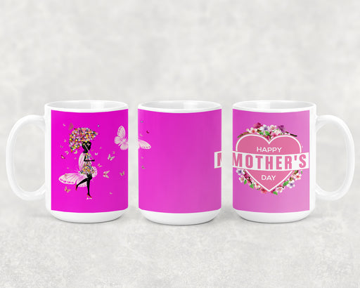 Happy Mother's Day 15oz Coffee Mug with Pink Background, Butterflies and Custom Photo