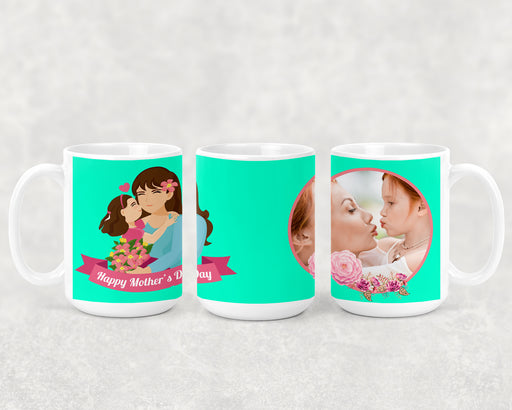 Happy Mother's Day 15oz Coffee Mug with A Mom and her Child and a Custom Photo, Coffee Mug, Personally Yours Accessories