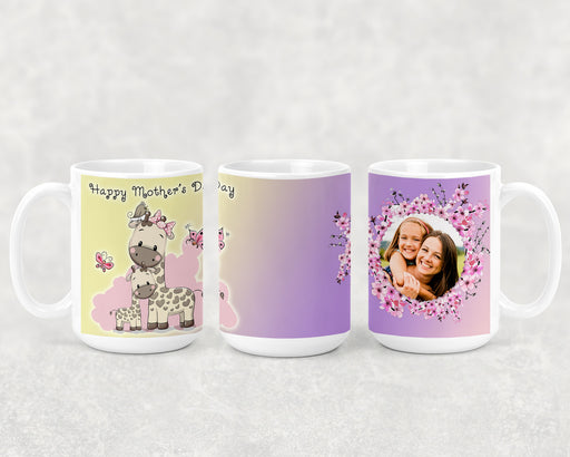 Happy Mother's Day 15oz Coffee Mug with a Mom and Baby Giraffe and a Custom Photo