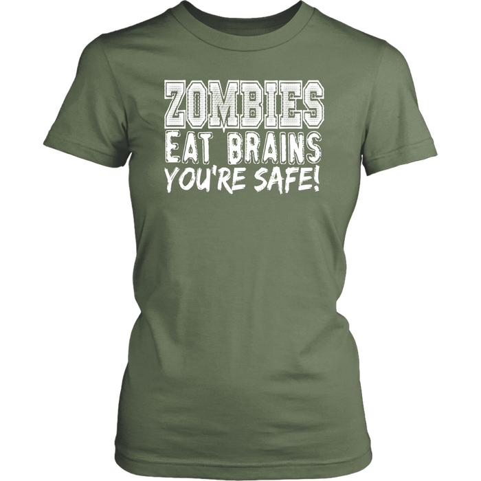 Zombies Eat Brains You're Safe, T-shirt, Personally Yours Accessories