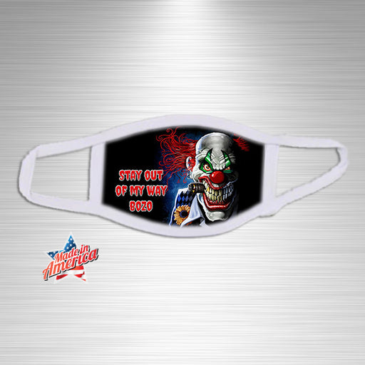 Scary Clown Stay Away Print Essential Accessory, Facial Mask, Personally Yours Accessories