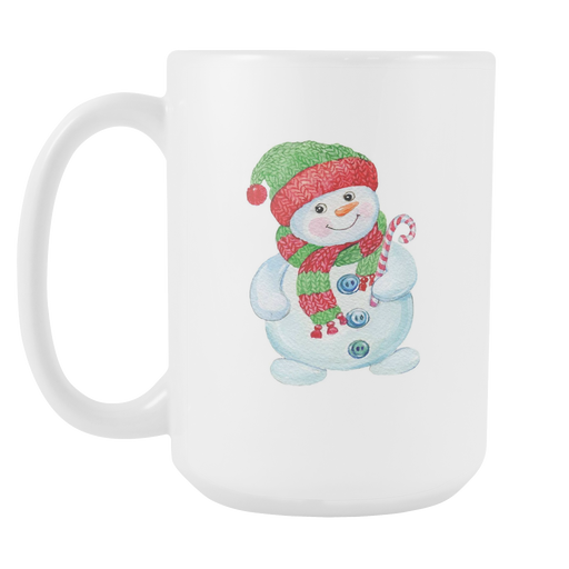 White 15oz Mug - Christmas - Jolly Snowman, Drinkware, Personally Yours Accessories