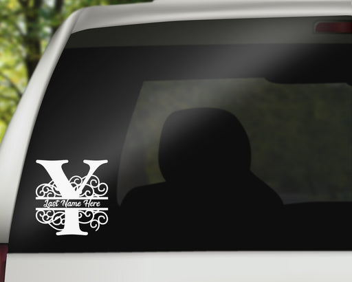 Swirl Letter Y Monogram Vinyl Decal with Name Personalization | Monogrammed Decal, Custom Car Decals, Personally Yours Accessories