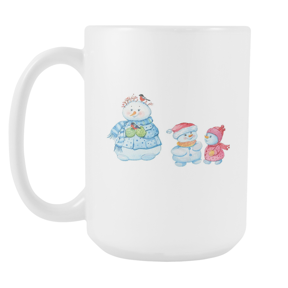 White 15oz Mug - Christmas - Snowman Mom and Kids, Drinkware, Personally Yours Accessories