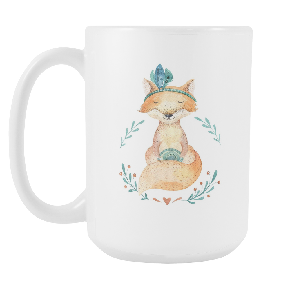 White 15oz Mug - Christmas - Peaceful Fox, Drinkware, Personally Yours Accessories