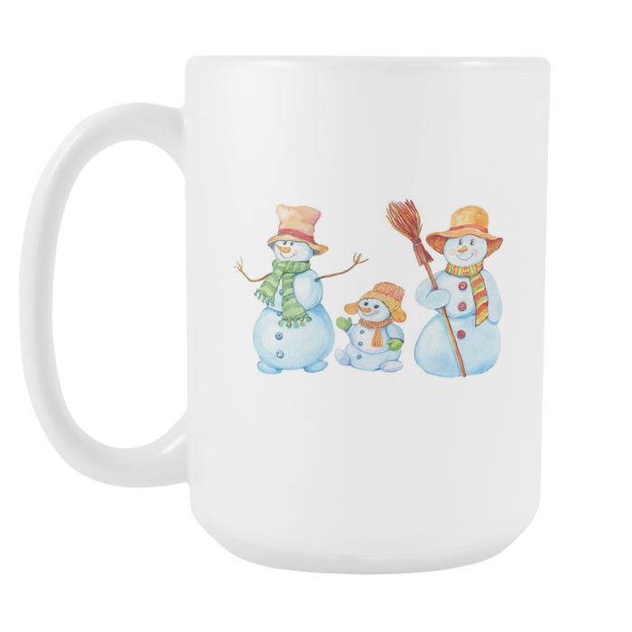 White 15oz Mug - Christmas - Snowman Family