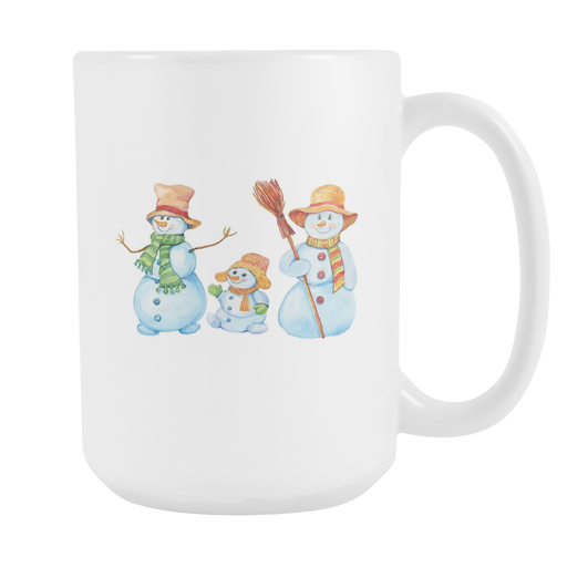 White 15oz Mug - Christmas - Snowman Family, Drinkware, Personally Yours Accessories