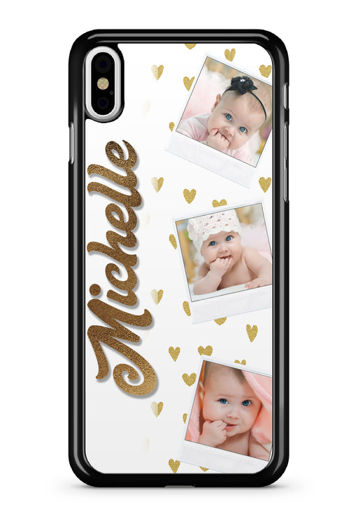 White and Gold Heart 3 Image Name w/Custom Polorid Photos Phone Case for Apple Devices, Phone Case, Personally Yours Accessories