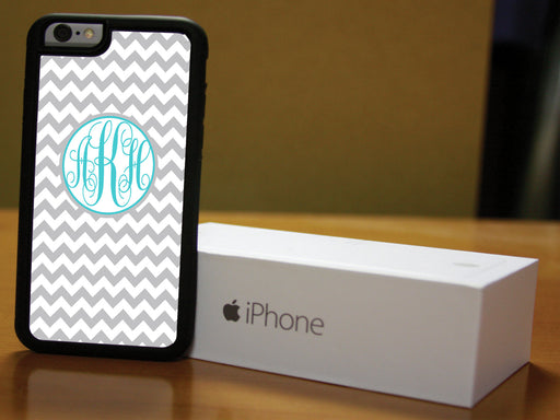 Monogrammed Grey and Teal Chevron, Phone Case, pyaonline