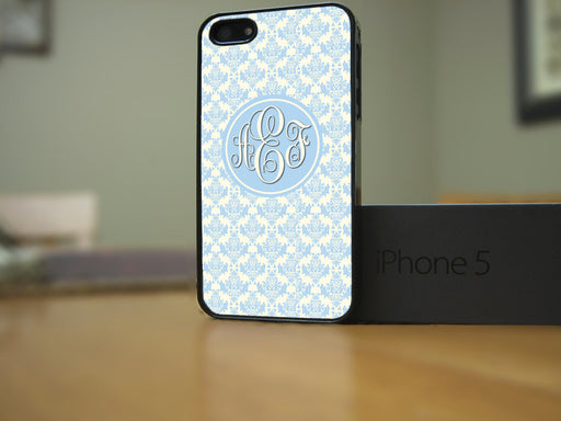 Monogrammed Baby Blue Victorian Pattern, Phone Case, Personally Yours Accessories
