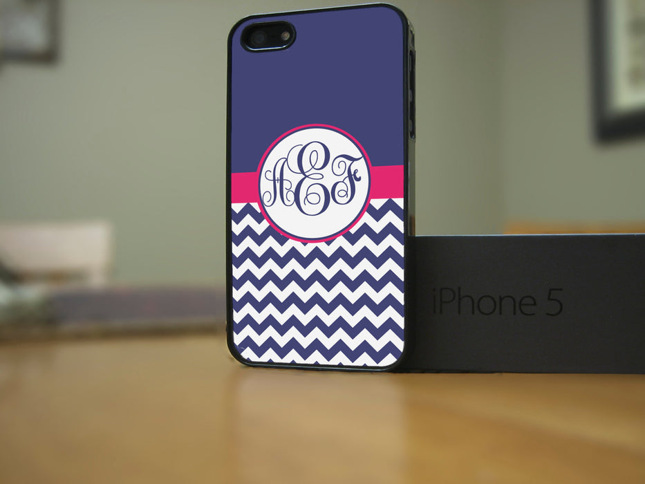 Monogrammed Blue and White Chevron with a hint of Pink, Phone Case, pyaonline