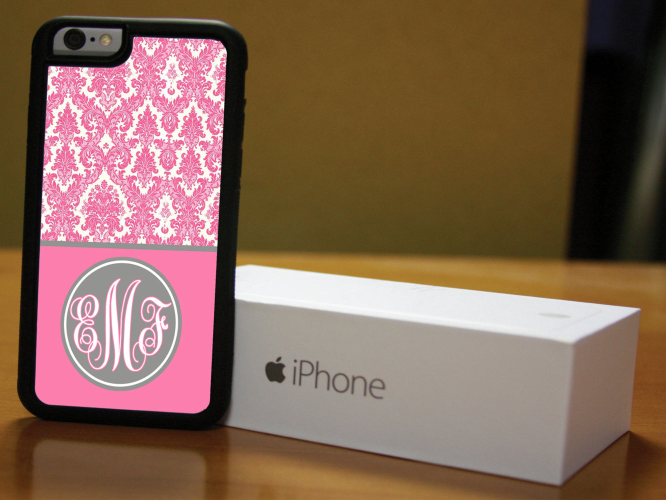 Monogrammed Pink and White Victorian Print, Phone Case, pyaonline