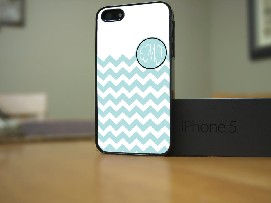 Monogrammed Aqua and White Chevron, Phone Case, Personally Yours Accessories