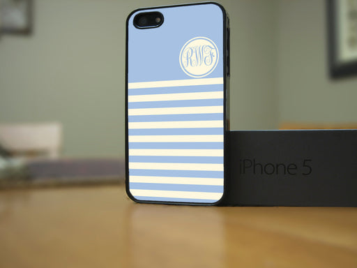 Monogrammed Pastel Blue and White stripes, Phone Case, Personally Yours Accessories