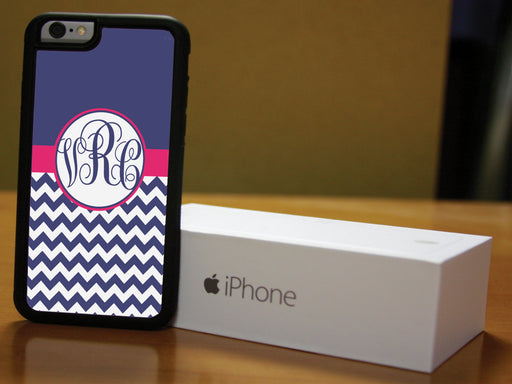 Monogrammed Navy and White Chevron with Pink Banner, Phone Case, pyaonline