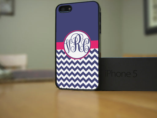 Monogrammed Navy and White Chevron with Pink Banner, Phone Case, Personally Yours Accessories
