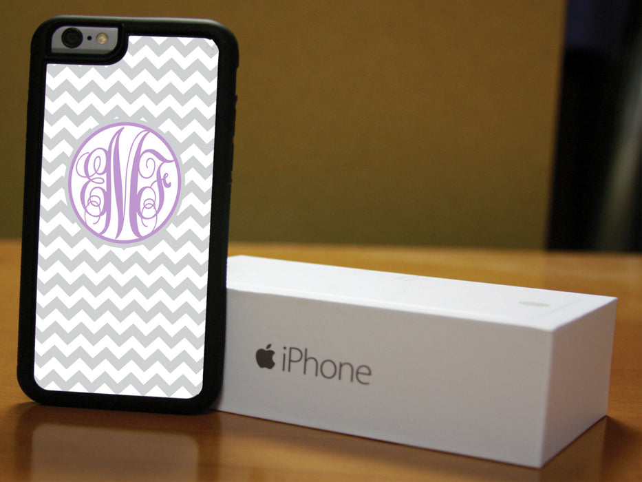Monogrammed Grey and White Chevron with Plum Lettering, Phone Case, pyaonline