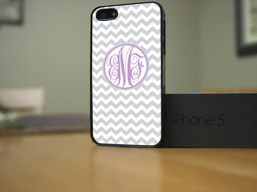 Monogrammed Grey and White Chevron with Plum Lettering, Phone Case, Personally Yours Accessories