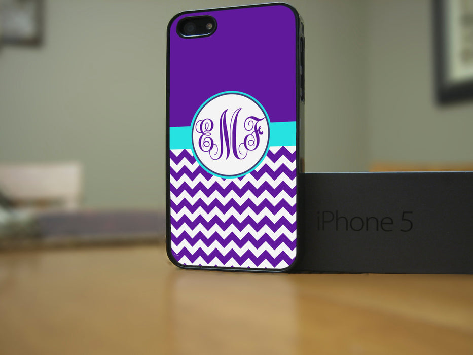 Monogrammed Purple Chevron and Teal Banner, Phone Case, Personally Yours Accessories
