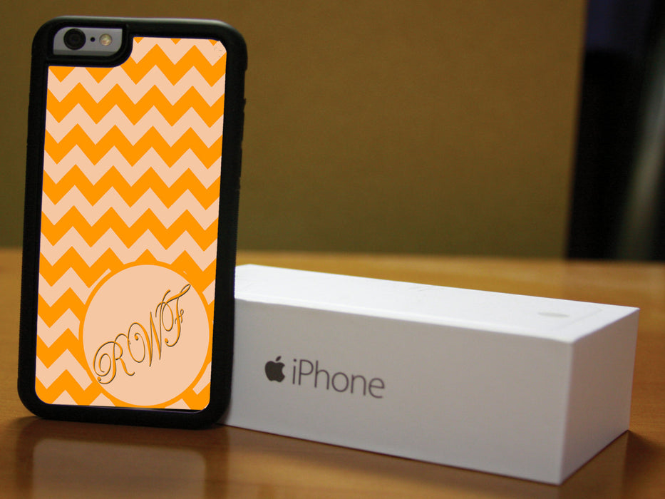 Monogrammed Coral and Orange Chevron Print, Phone Case, pyaonline