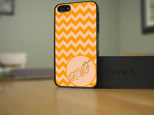 Monogrammed Coral and Orange Chevron Print, Phone Case, Personally Yours Accessories