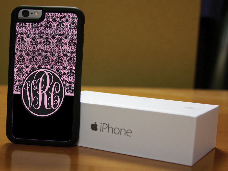 Monogrammed Black and Pink Victorian, Phone Case, Personally Yours Accessories