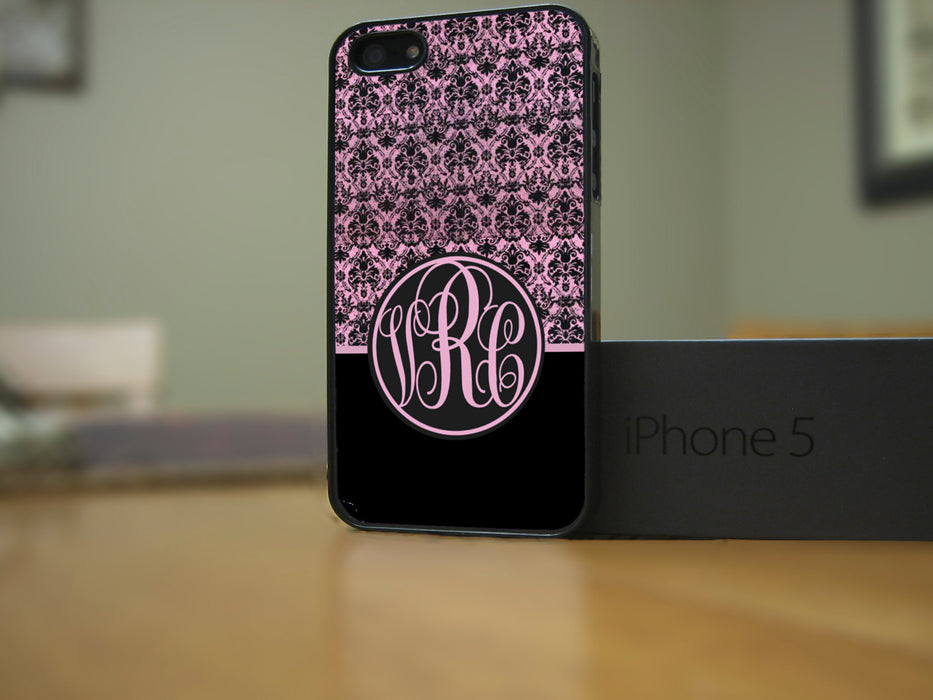 Monogrammed Black and Pink Victorian, Phone Case, pyaonline