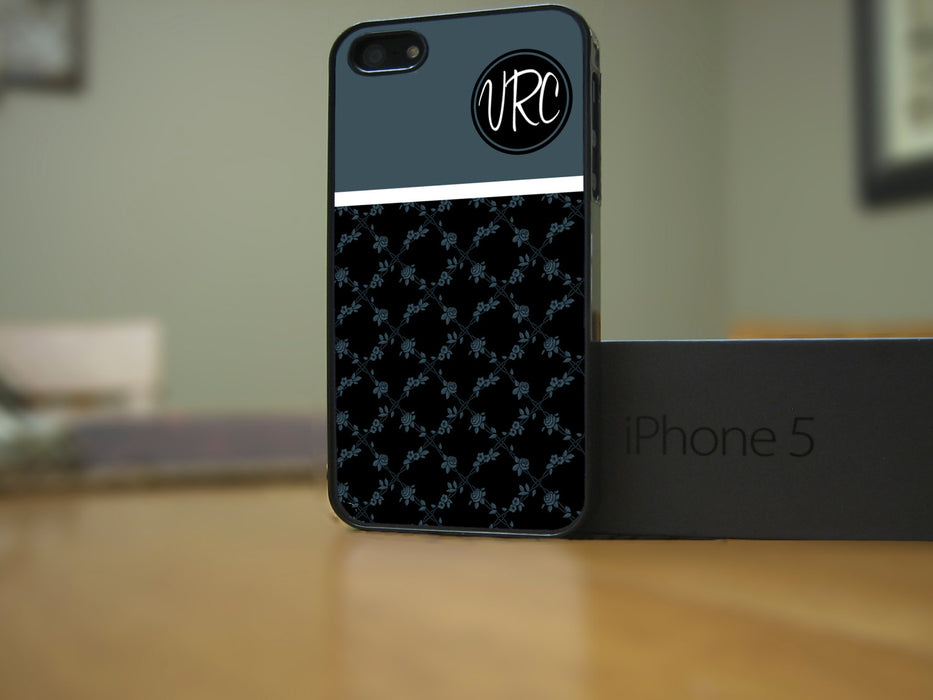 Monogrammed Dark Flower Print, Phone Case, Personally Yours Accessories