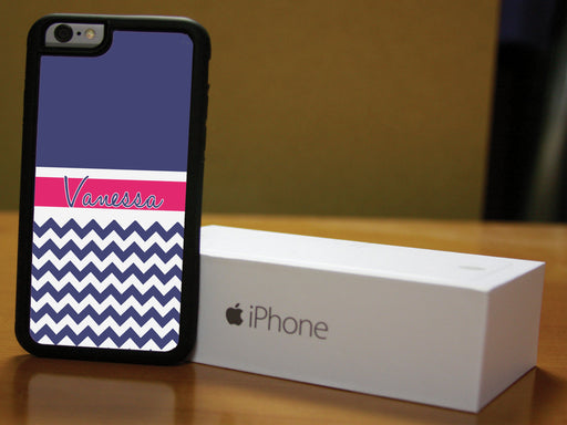 Monogrammed Navy Blue Chevron Print and Pink Name Banner, Phone Case, pyaonline