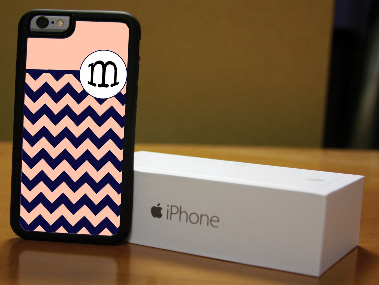 Monogrammed Peach and Navy Blue Chevron Print, Phone Case, pyaonline