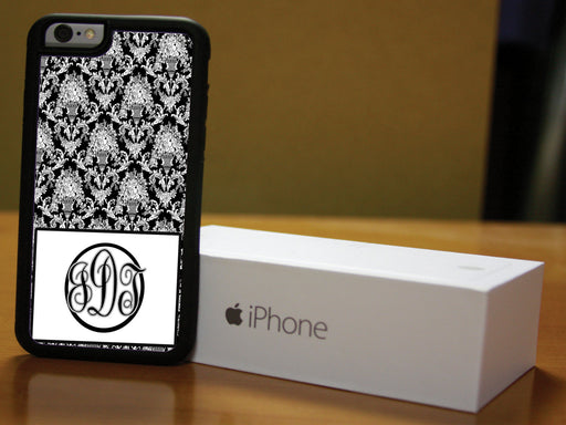 Monogrammed Black and White Victorian Print, Phone Case, pyaonline