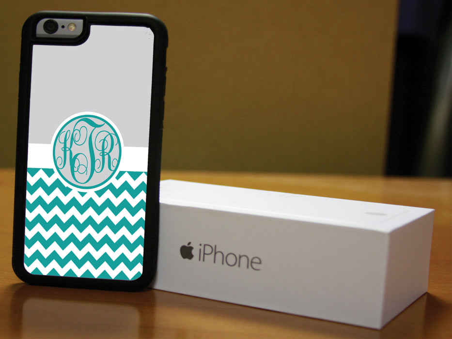 Monogrammed Teal Chevron Print and Gray upper, Phone Case, pyaonline