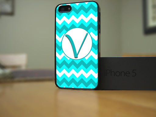 Monogrammed Teal, White and Blue Chevron Print, Phone Case, Personally Yours Accessories