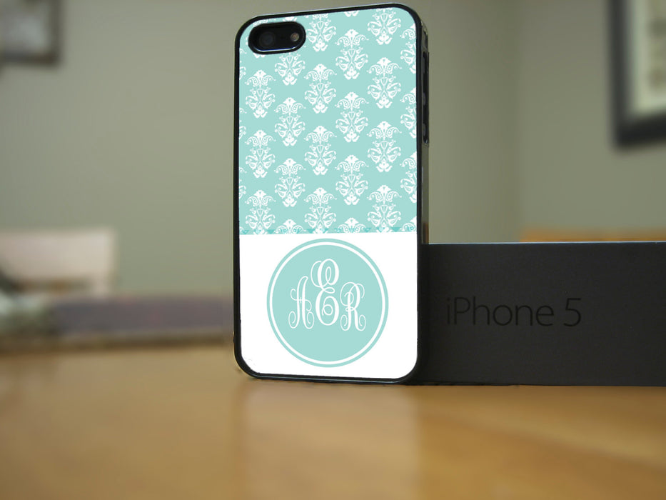 Monogrammed Tiffany Color Victorian Print, Phone Case, pyaonline