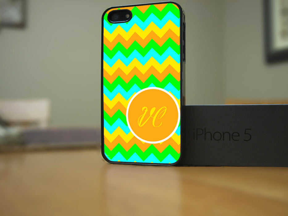 Monogrammed Orange, Teal and Blue Chevron Print, Phone Case, pyaonline