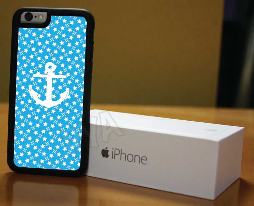 Light Blue and White Stars Nautical, Phone Case, pyaonline