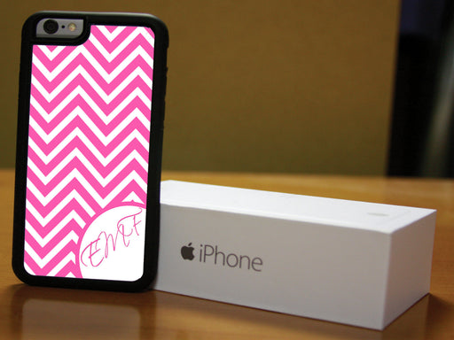 Monogrammed Pink and White Chevron, Phone Case, pyaonline