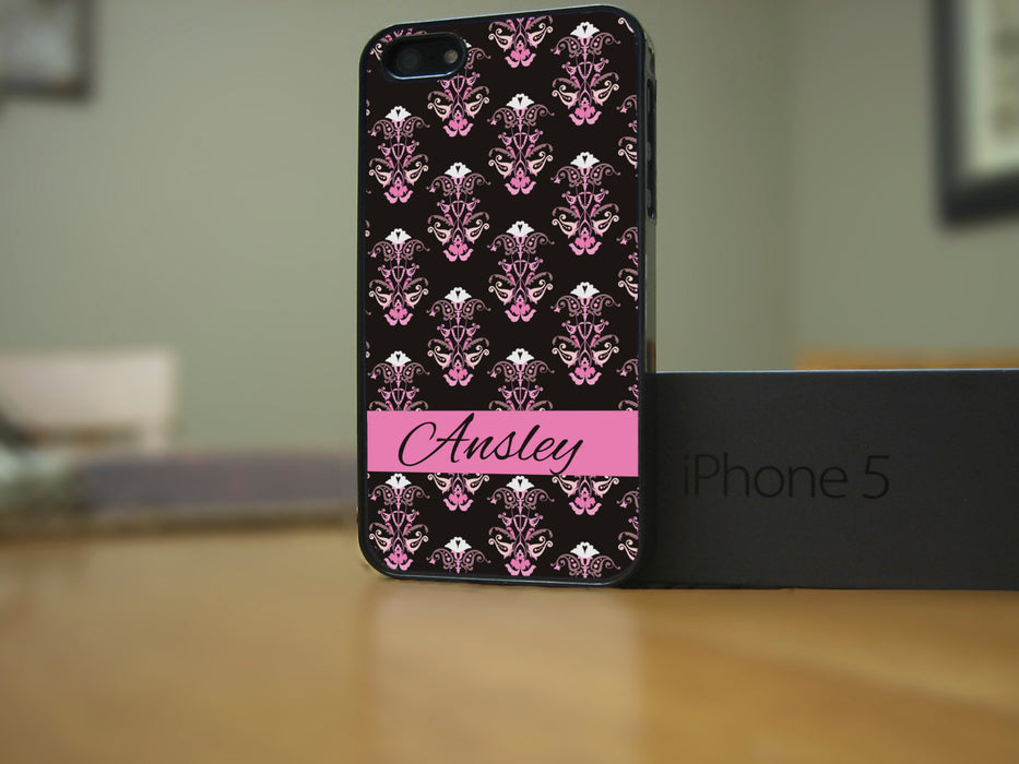 Monogrammed Black and Pink Victorian Print and Name Banner, Phone Case, Personally Yours Accessories