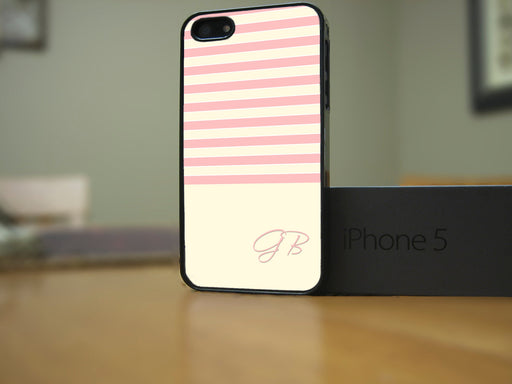 Monogrammed Pink and Off White Stripes, Phone Case, Personally Yours Accessories