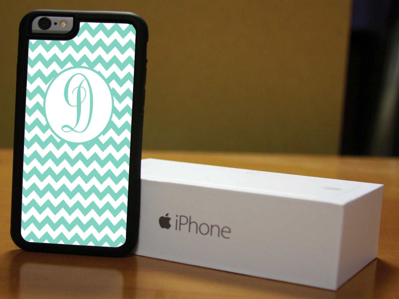 Monogrammed Aqua and Teal Chevron, Phone Case, pyaonline