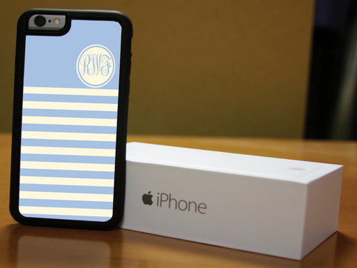 Monogrammed Pastel Blue and White stripes, Phone Case, pyaonline