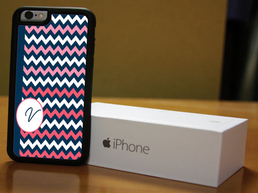 Monogrammed Navy Blue and Pink Chevron, Phone Case, pyaonline