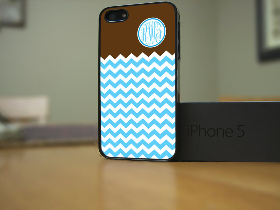 Monogrammed Teal Chevron and Chocolate, Phone Case, pyaonline