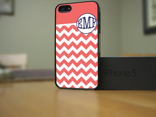 Monogrammed Coral Chevron and Navy Blue Lettering, Phone Case, Personally Yours Accessories