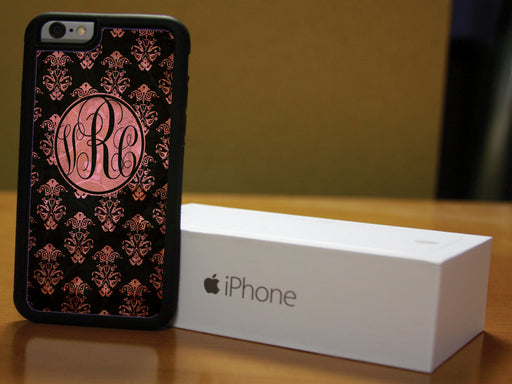 Monogrammed Black and Pink with Masking Victorian Print, Phone Case, pyaonline